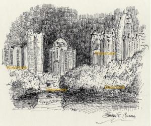 Atlanta skyline pen & ink drawing of midtown at night