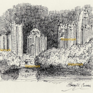 Atlanta skyline #859A pen & ink drawing is popular because of it's view of Piedmont Park and Lake Clara Meer.