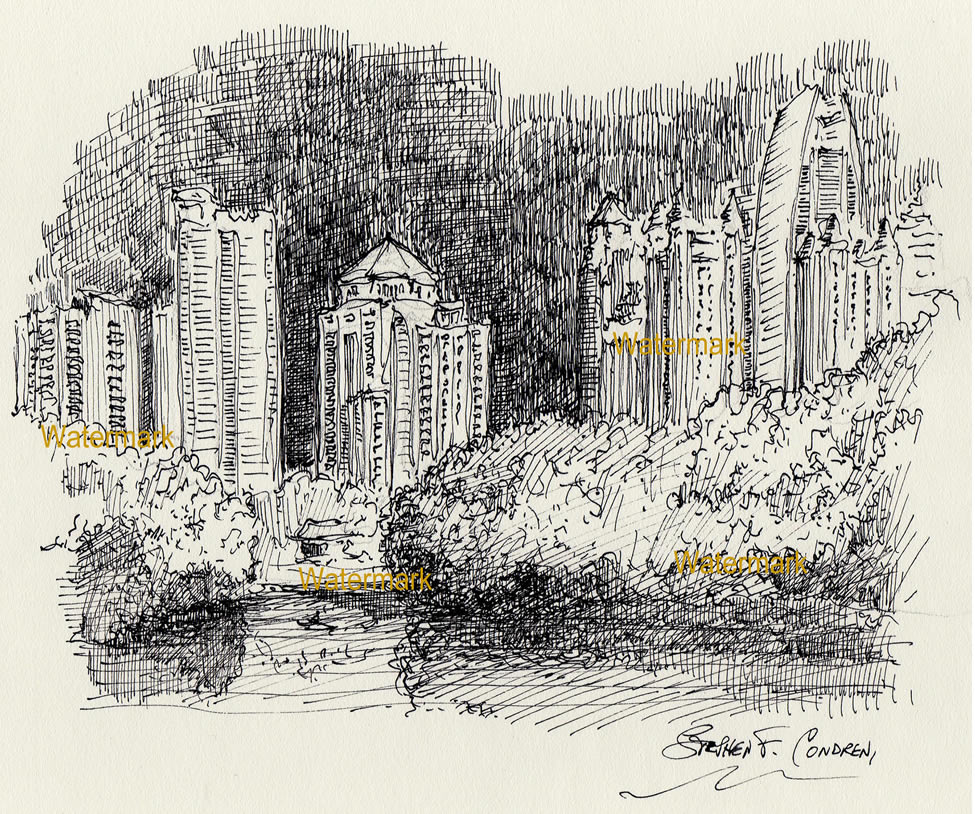 Atlanta midtown night skyline pen & ink