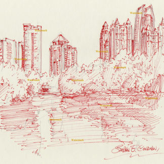 Atlanta skyline #860A pen & ink cityscape drawing of Piedmont Park in Midtown by Lake Clara Meer.