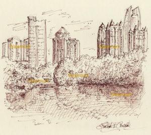 Atlanta skyline art in pen & ink drawing of midtown in Piedmont Park