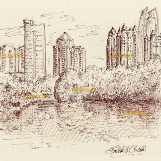 Atlanta skyline brown pen & ink drawing