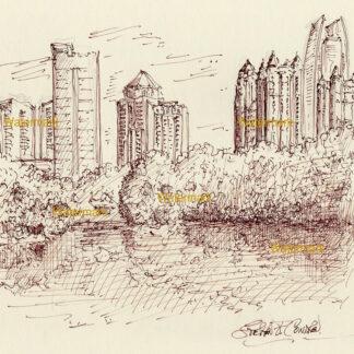 Atlanta skyline pen & ink cityscape drawing of Midtown in Piedmont Park by Lake Clara Meer.