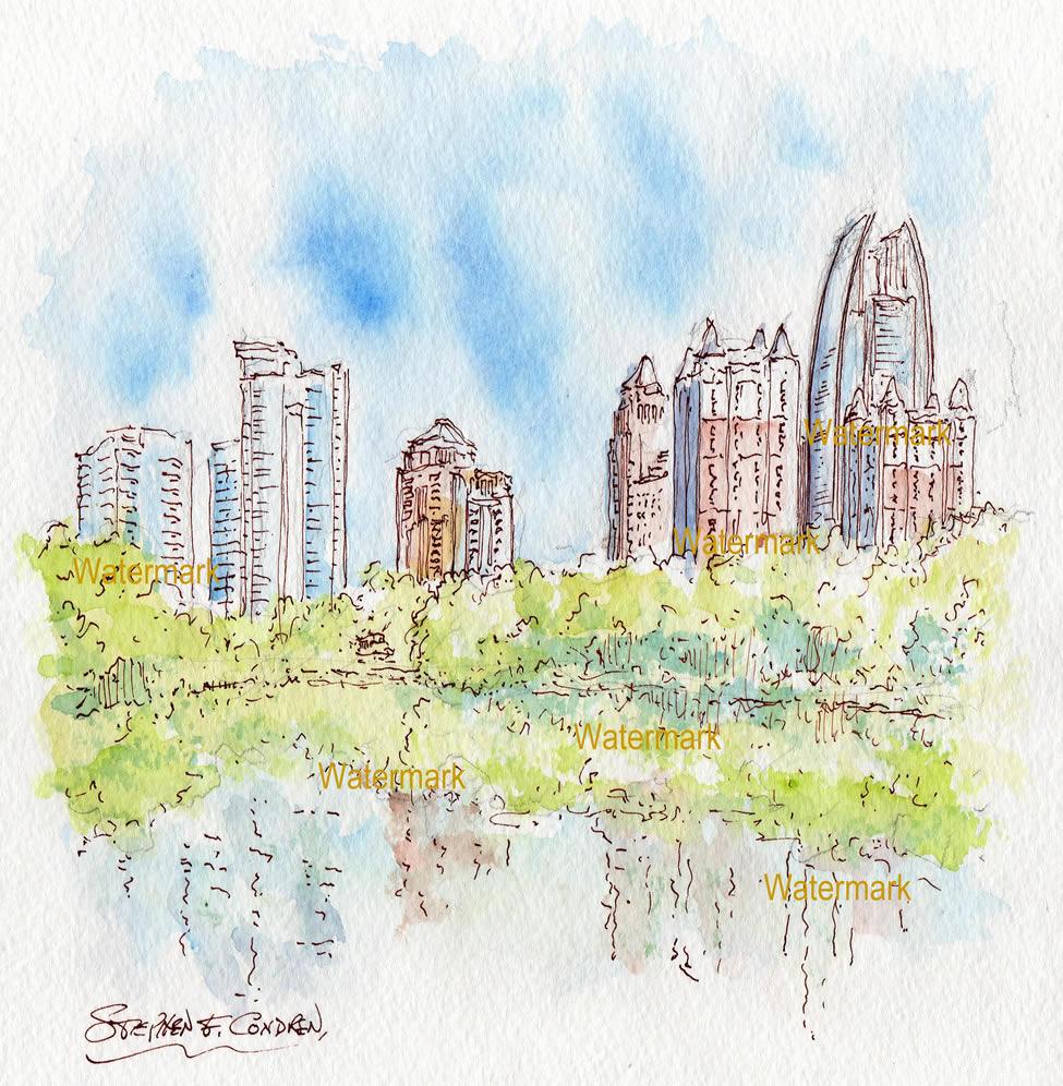 Atlanta skyline watercolor Piedmont Park