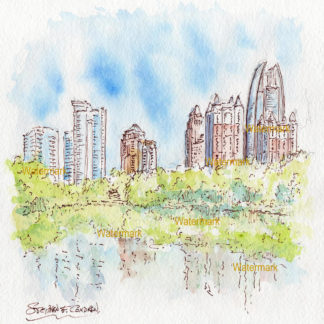 Atlanta Skyline Sunset Watercolors