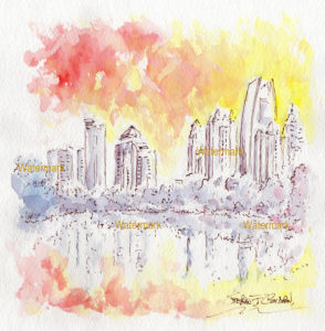 Atlanta skyline watercolors at sunset in Piedmont Park