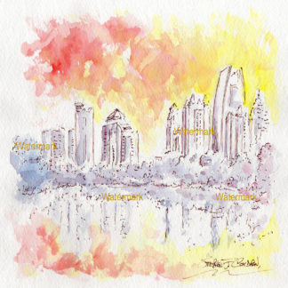 Atlanta skyline #867A sunset cityscape watercolor is popular because of it's view of Piedmont Park.