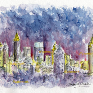 Atlanta skyline watercolor painting of downtown at night.