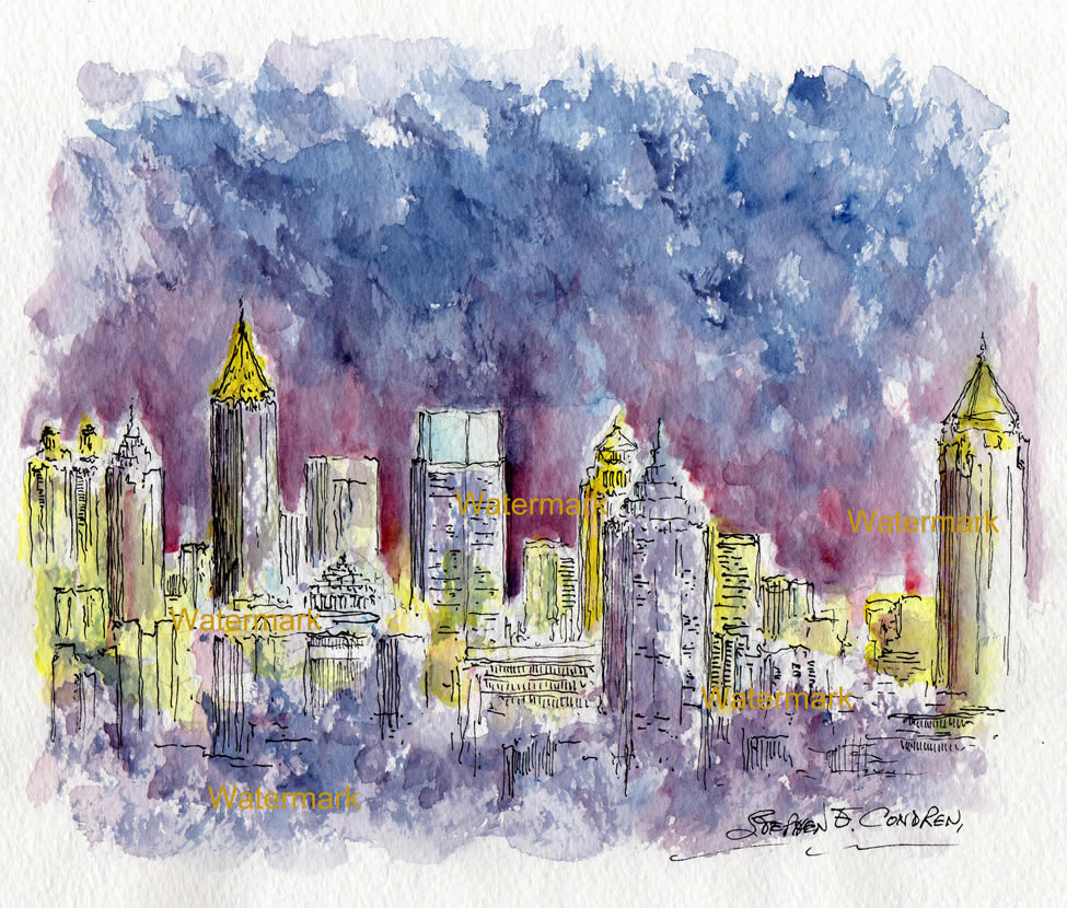 Atlanta skyline watercolor painting of downtown at night for Atlanta mural artist