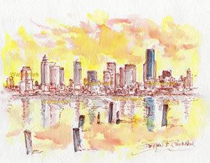 Seattle Skyline #879A pen & ink cityscape watercolor at sunset on Elliott Bay.