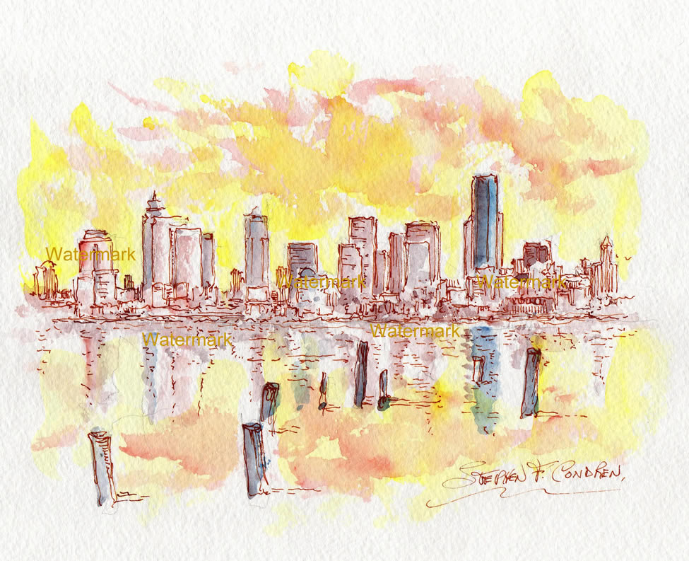 Seattle Skyline Watercolor Painting At Sunset For Sale ~ 879