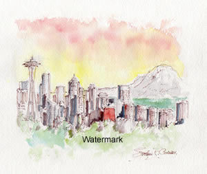 Seattle Skyline #881A pen & ink cityscape watercolor is popular because of the sunset at Mt. Rainier.