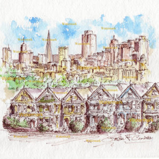 San Francisco skyline #892A pen & ink cityscape watercolor with Alamo Square painted ladies.