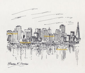 San Francisco Skyline Pen & Ink Drawing Of Downtown On The Bay