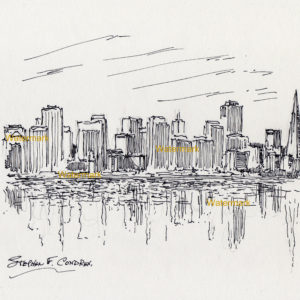 Pen & ink drawings and prints of San Francisco skyline
