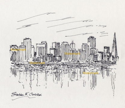 San Francisco skyline #893A cityscape drawing with the skyscrapers reflecting in the waters of the bay.