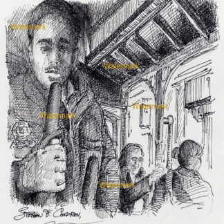 San Francisco trolley #914A pen & ink city scene drawing is popular because of it's passengers riding in cabin.
