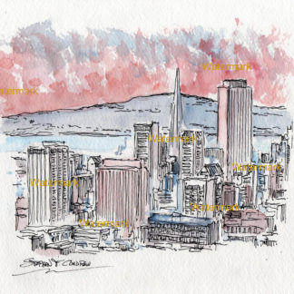 San Francisco skyline watercolor of downtown on the bay at sunset.