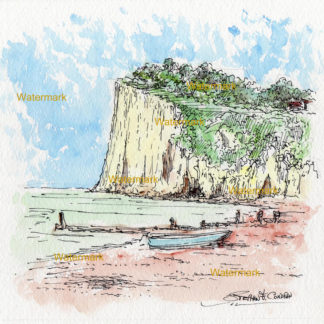 Watercolor seascape painting of the cliffs of St. Margaret's Bay in Nove Scotia.