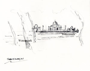 Taj Mahal Pen & Ink Drawing On The Yamuna River.