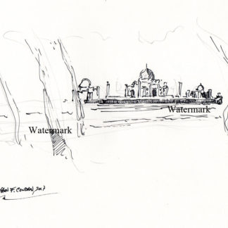 Taj Mahal #2958A pen & ink landmark drawing on the banks of the Yamuna River.