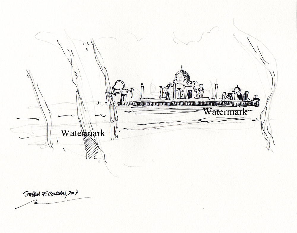 Taj Mahal Pen & Ink Drawing On The Yamuna River.