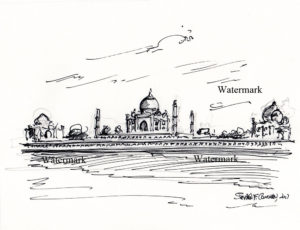 Pen & ink drawing of the Taj Mahal on the Yamuna River.