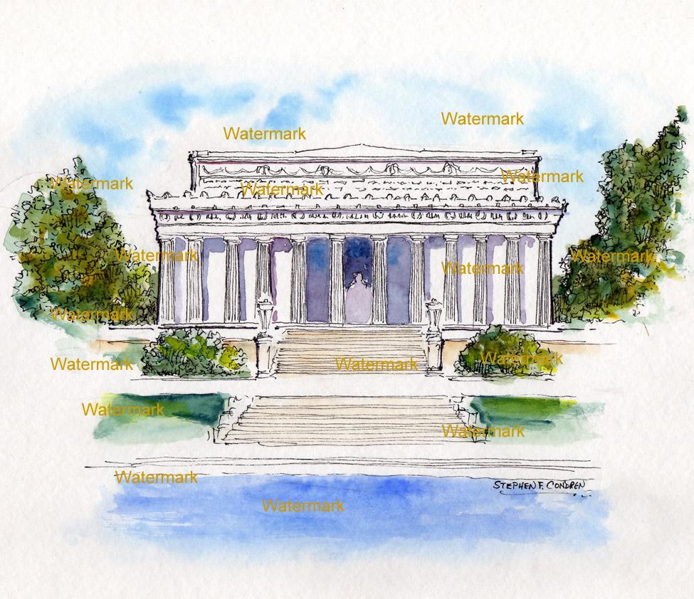 Lincoln Memorial Watercolor Painting #676