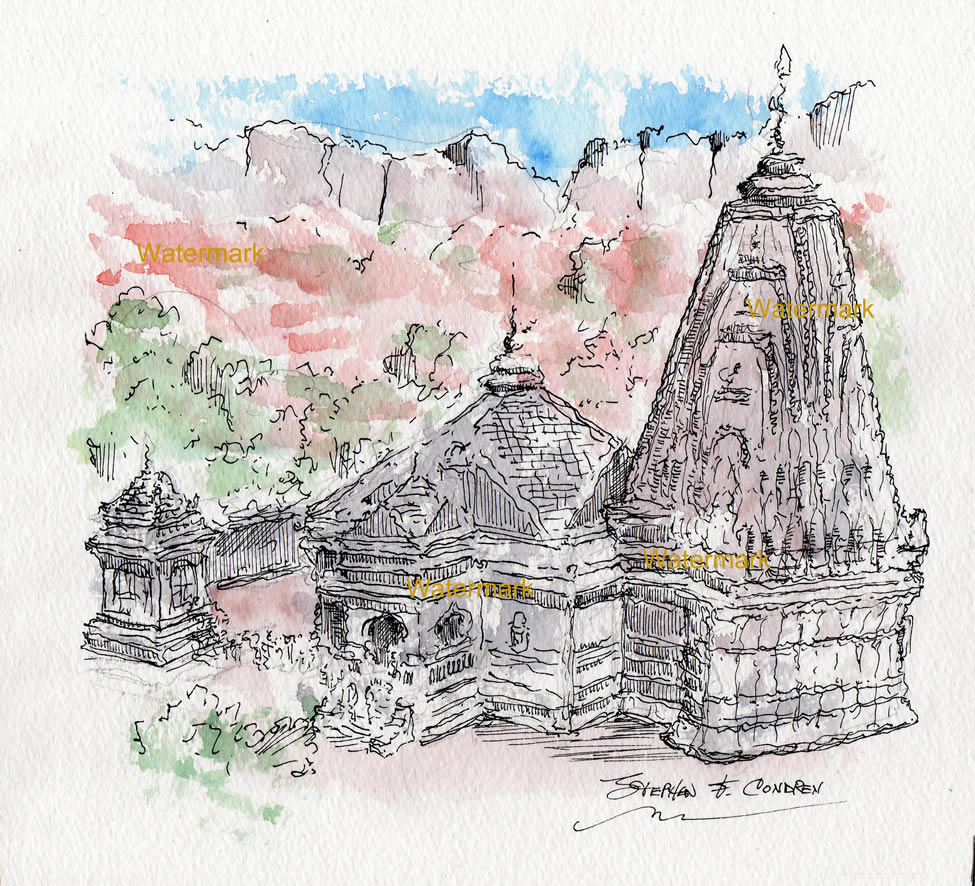 Watercolor painting of Trimbakeshwar Shiva Temple in India.