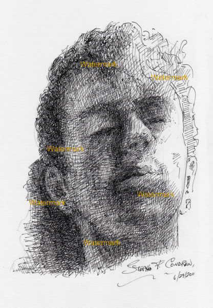 Pen & ink fine line drawing of a young man's head in shadow.