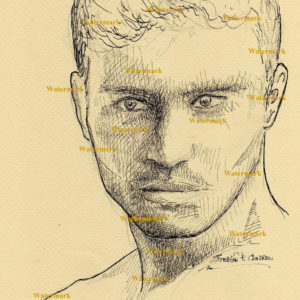 Pen & ink portrait of Bo Roberts.