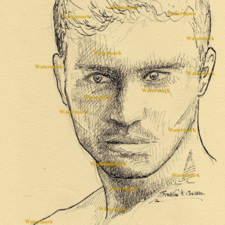 Bo Roberts #2430A pen & ink celebrity portrait with razor thin shadow lines, and cross-hatching.