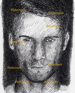 Bryce Thompson #981A pen & ink celebrity portrait is popular because of his beautiful face and penetrating eyes.