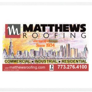 Matthews Roofing Company Advertisement With Chicago Skyline Painting