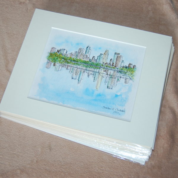 Matted skyline prints.