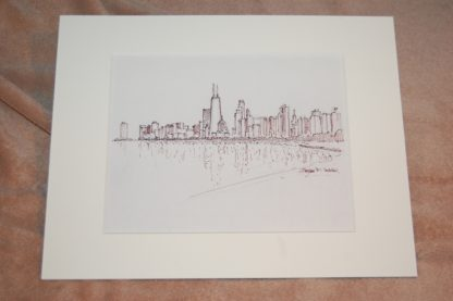 Chicago skyline pen & ink drawing