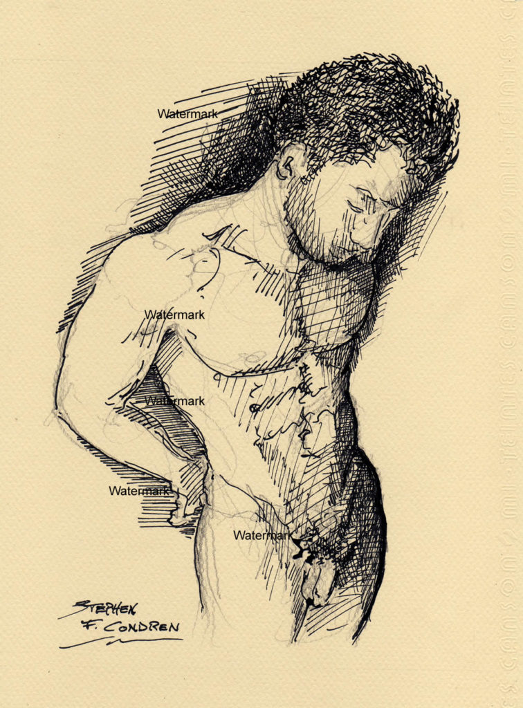 Pen & ink drawing of a nude male looking down.