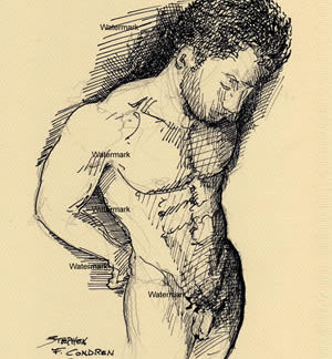 Male Figure Pen & Inks And Prints