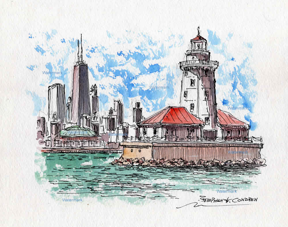 Watercolor painting of Chicago Harbor Lighthouse.