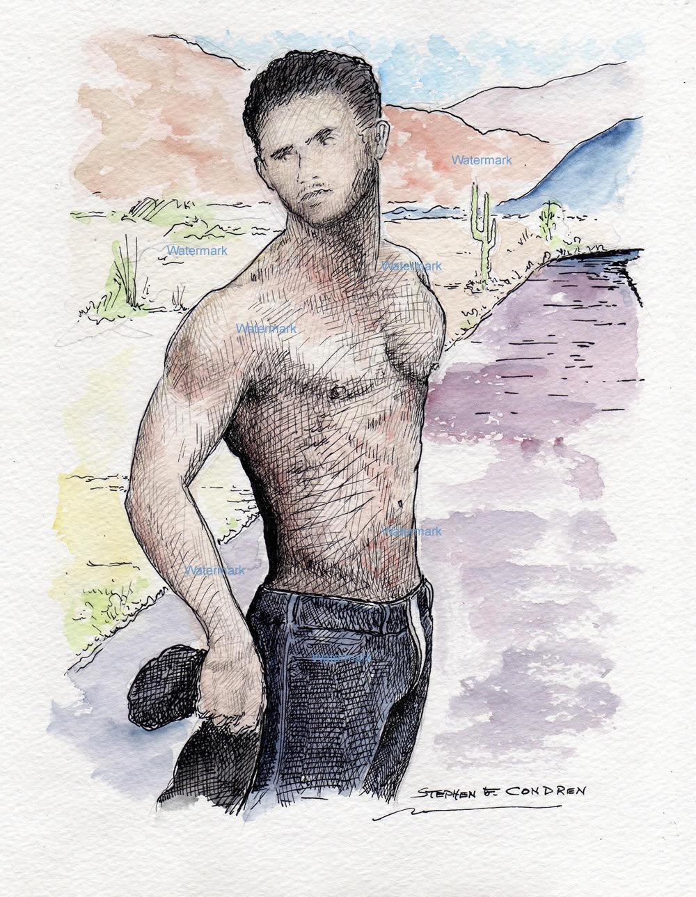 Watercolor pen & ink drawing of model Josh Kloss.