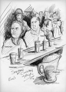 Bar scene of people sitting and talking at a bar.