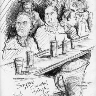 Bar scene #259A pencil bar scene drawing which was drawn live on the spot.