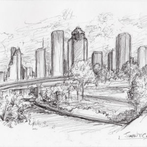 Houston skyline pencil drawing on the Buffalo Bayou River.