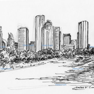 Pen & ink line drawing of downtown Houston from Tranquility Park.