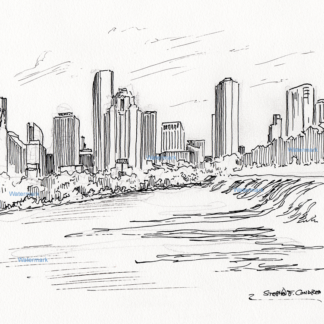 Pen & ink drawing of downtown Houston.