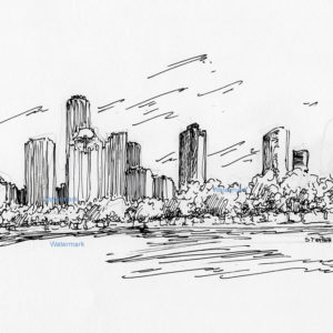 Pen & ink skyline drawing of downtown Houston.