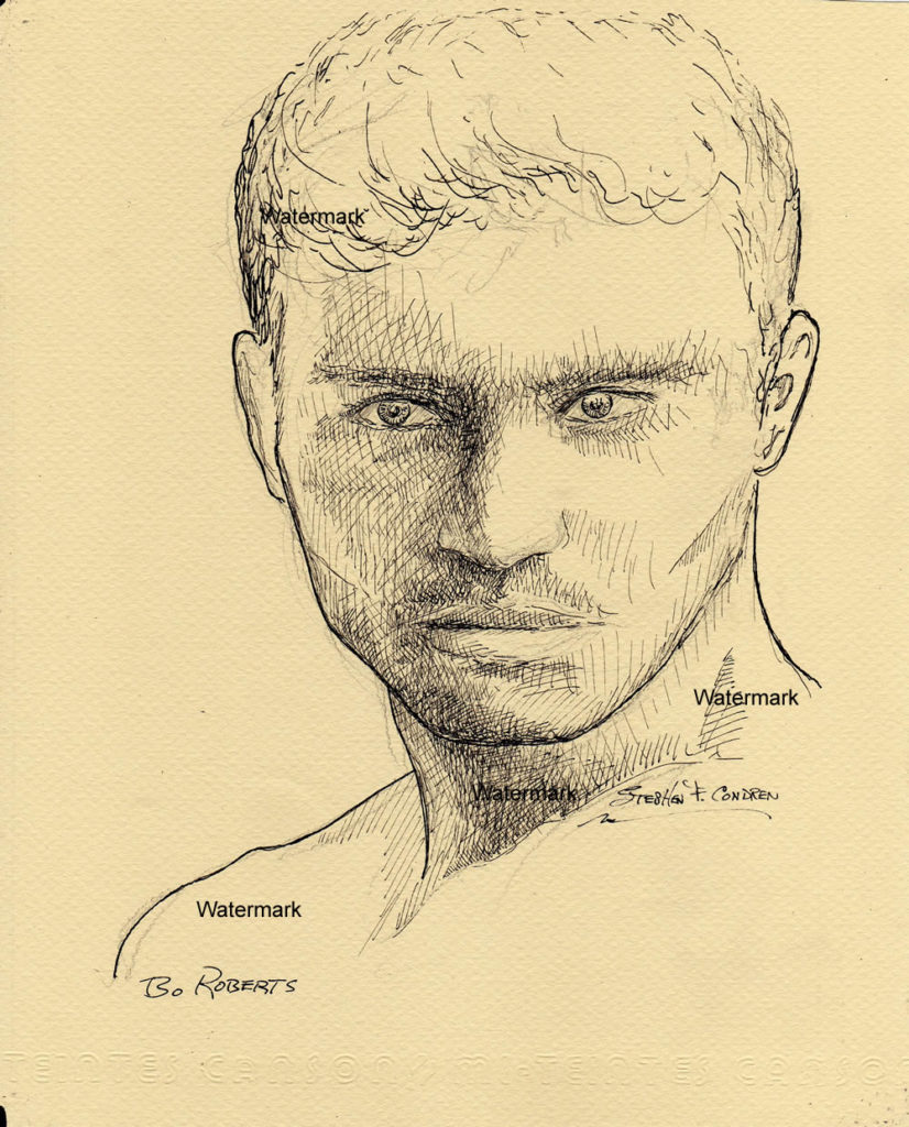 Pen & ink drawing of famous model Bo Roberts.