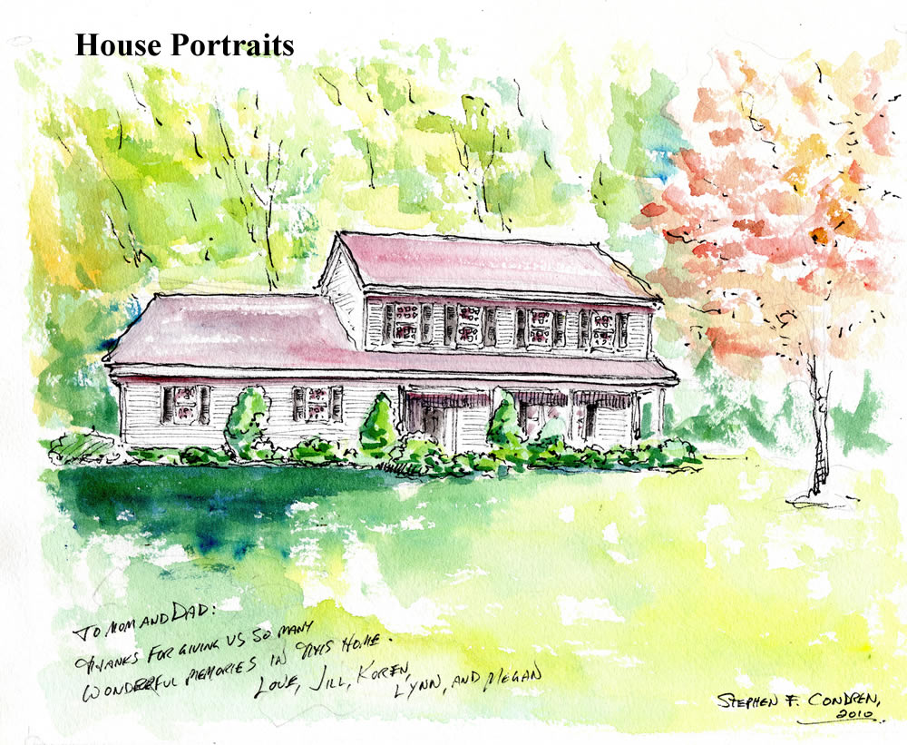 Watercolor house portrait by artist Stephen F. Condren