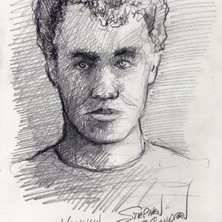 Igor Highkin #606A pencil portrait of a youth with fine hatching of shade and shadows on his face.