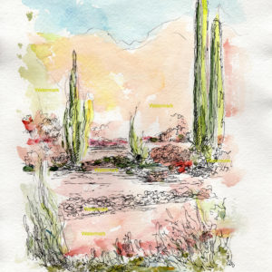 Watercolor painting of a Phoenix, Arizona landscape with cactus.